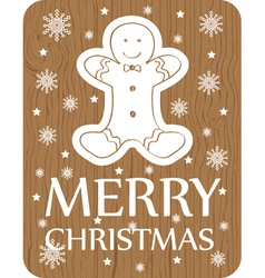 Chistmas greeting with cookie on wood background vector