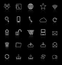 Communication line icons with reflect on black vector image vector image