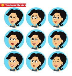 Facial emotions icons set vector image vector image