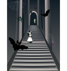 Fashion zombie girl on stairs2 vector