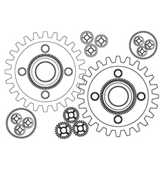 Graphic linear pattern engineering gear wheel vector