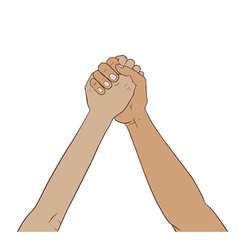 Hands together in the air vector image vector image