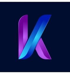K letter volume blue and purple color logo design vector image vector image