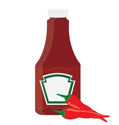 Ketchup bottle and chilli pepper vector image