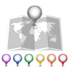 Map icon with multicolored pin pointers vector