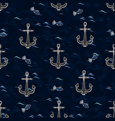 marine pattern vector image vector image