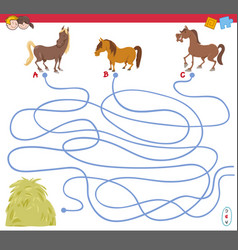 Maze game with horse characters vector