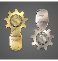 Metal banners logos steampunk style vector