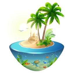 Paradise tropical island in sea palm sand castle vector