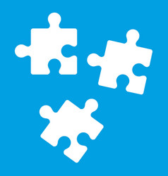 Puzzle icon white vector