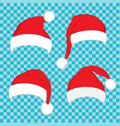 santa claus red hat set on white vector image vector image
