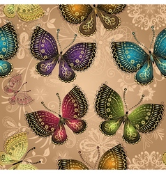 Seamless beige pattern with bright butterflies vector image
