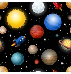 Seamless pattern with planets and rockets vector