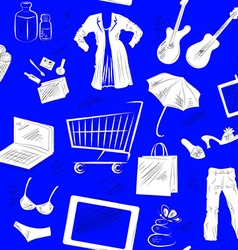 Seamless patterned background with shopping icons vector