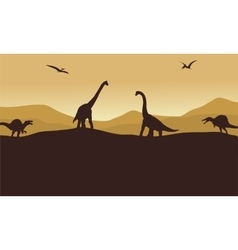 Silhouette of many dinosaur in hills vector