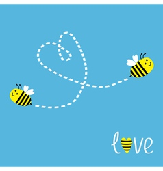 Two flying bees dash heart in the sky card vector