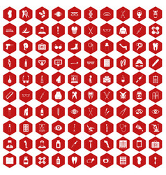 100 pharmacy icons hexagon red vector image vector image