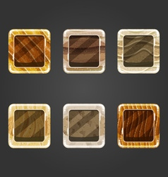 Set of shiny sand concave square button vector