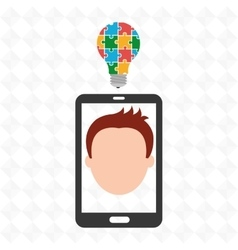 Smartphone man idea icon vector