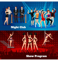 Night club dance show 2 flat banners vector