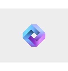 Abstract infinity cube logo design template vector
