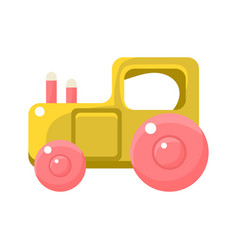 Toy yellow truck with pink wheels object from vector