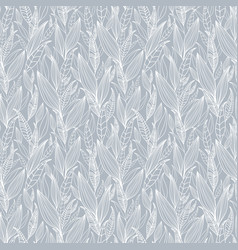 Silver grey detailed leaves seamless vector