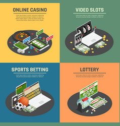 Online casino 4 isometric icons vector