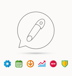 Pin icon stationery sign vector
