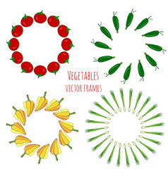 Vegetable hand drawn frames set isolated vector