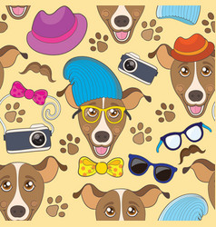 Colorful seamless pattern with funny vector