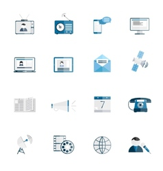 Media icons flat set vector