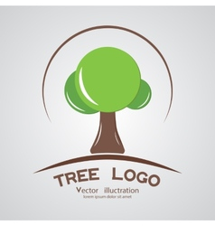 Green circle tree logotype branding wood company vector