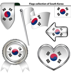 Glossy icons with south korea flag vector
