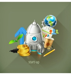 Start-up business project and its development vector image