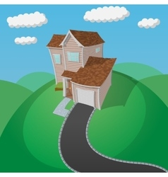 House on the green hill vector