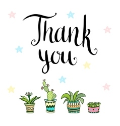 Thank you handwritten card with flowers in vector
