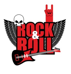 Rock and roll logo electric guitar and skull logo vector