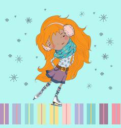 Little girl skates vector image