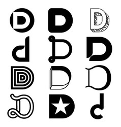Abstract icons based on the letter D vector image