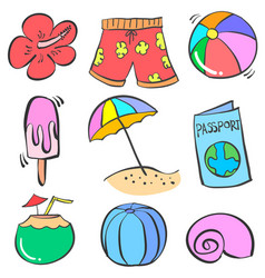 art summer object doodles vector image vector image