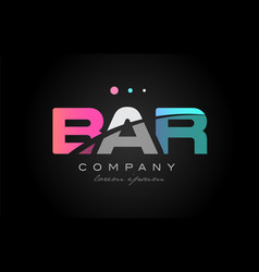 Bar b a r three letter logo icon design vector