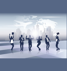 business team silhouette businesspeople group vector image vector image