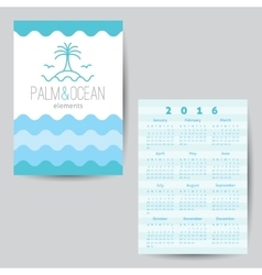 Calendar with palm seagulls island and waves vector