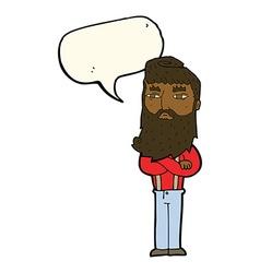 Cartoon serious man with beard with speech bubble vector