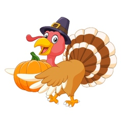 Cartoon turkey holding a pumpkin vector