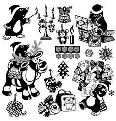 Christmas set with cartoon mole vector