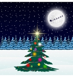 Christmas tree in the forest and Santa Claus on a vector image