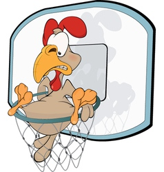 Cockerel the basketball player cartoon vector