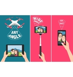 Couple making selfie with drone stick and using vector image